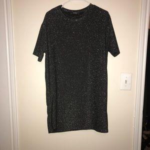 Zara Grey Shimmer Shirt Dress, Medium, With Tags